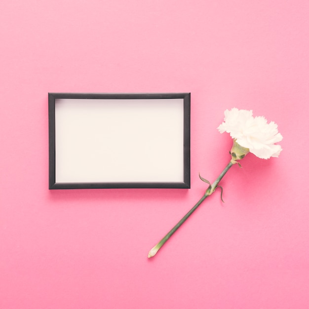 Leeg frame met witte bloem op tafel Gratis Foto