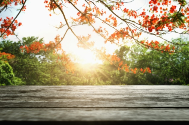 Leeg hout met rode bloem op aardachtergrond Premium Foto