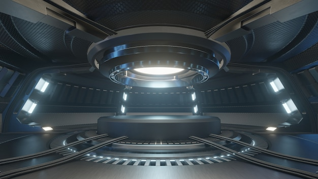 Leeg lichtblauw studioruimte futuristisch binnenland met leeg stadium met blauw lichten. Premium Foto