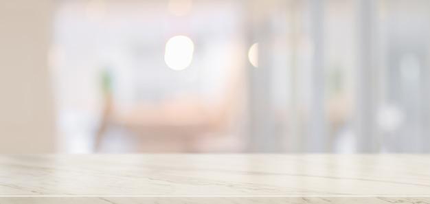 Leeg marmeren bureau met exemplaarruimte Premium Foto
