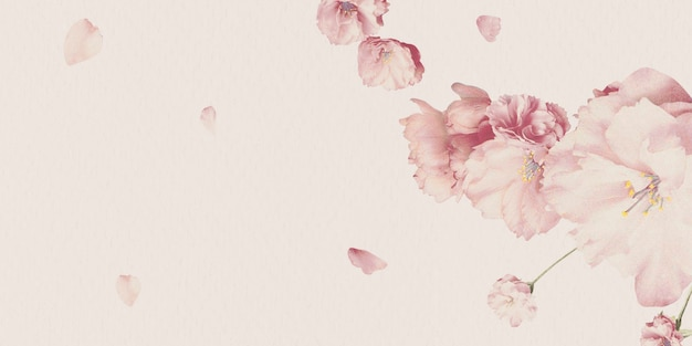 Leeg roze bloemenkaartontwerp Gratis Foto