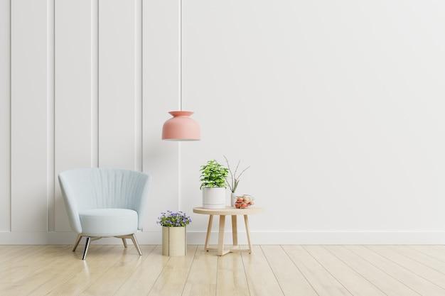 Leeg ruimtebinnenland met leunstoel en bijzettafel in een minimalistisch woonkamerbinnenland. Premium Foto