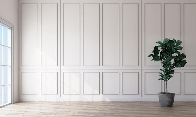 Leeg ruimtebinnenland met witte rechthoekige patroonmuren en het lichte houten vloer 3d teruggeven Premium Foto
