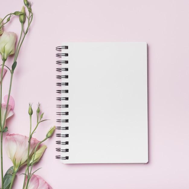Leeg spiraalvormig notitieboekje met eustomabloemen tegen roze achtergrond Gratis Foto