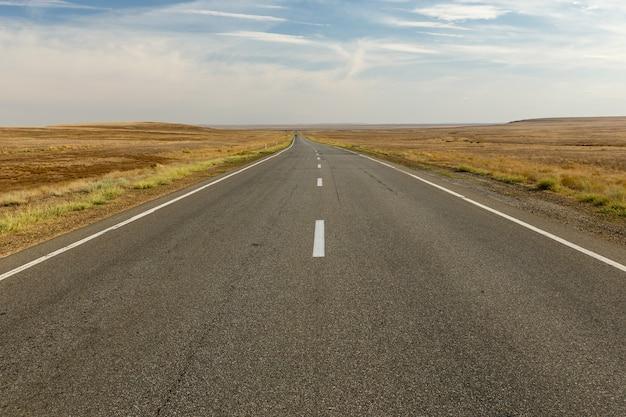 Lege asfaltweg over de steppe, kazachstan, mooie weg Premium Foto