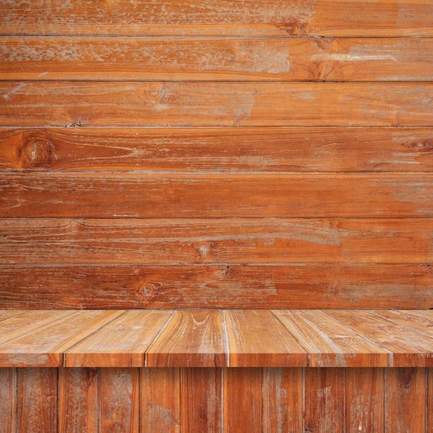 Houten Planken Aan De Muur.Lege Bovenste Houten Planken Of Tafel Op Muur Achtergrond