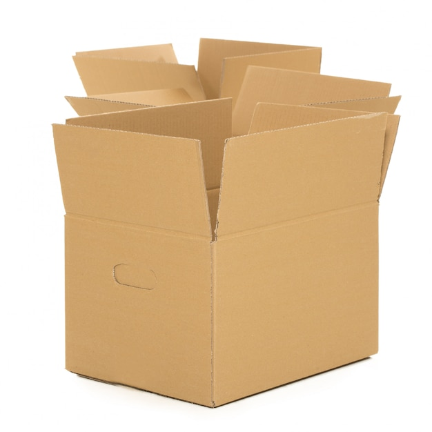Lege en open dozen op het wit Gratis Foto