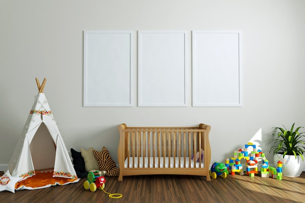 Lege fotolijsten in babykamer Premium Foto