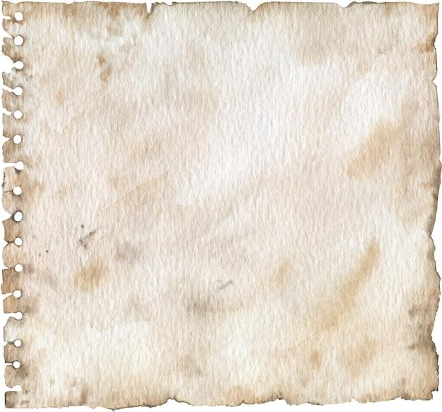 Lege grunge geperforeerde papier textuur. een oude notitieboekpagina met gaten. aquarel illustratie. Premium Foto