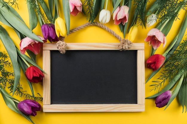 Lege houten lei die met kleurrijke verse tulpen tegen gele achtergrond wordt verfraaid Gratis Foto