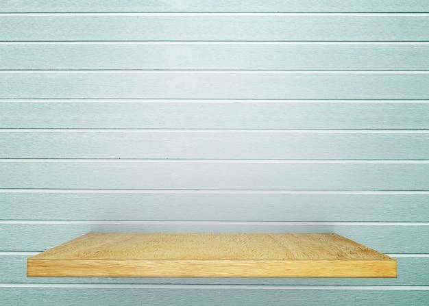 Houten Plank Voor Aan Muur.Lege Houten Plank Op Naakt Met Lichtblauwe Uitstekende Muur Product