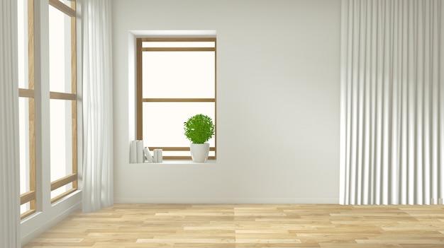 Lege interieur achtergrond, kamer met decoratie mock up op houten vloer Premium Foto