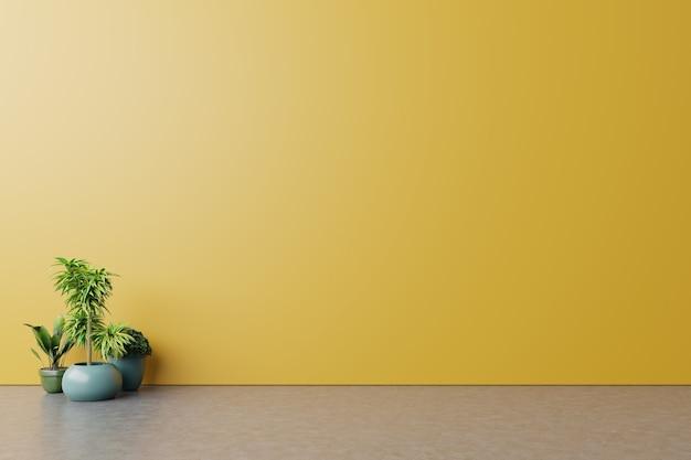 Lege kamer met planten mockup hebben houten vloer op gele muur achtergrond Premium Foto