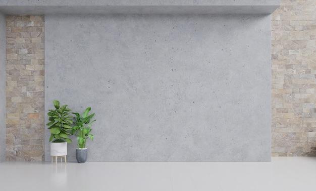 Lege kamer met planten mockup hebben houten vloer op stucwerk muur Premium Foto