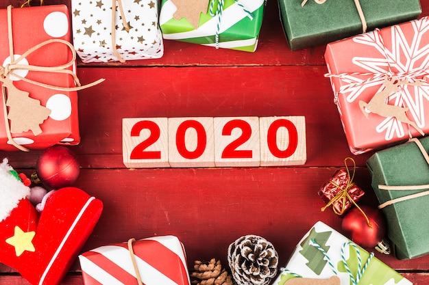 Lege kopie ruimte voor inscriptie. idee van gelukkig nieuwjaar 2020 vakantie. Premium Foto