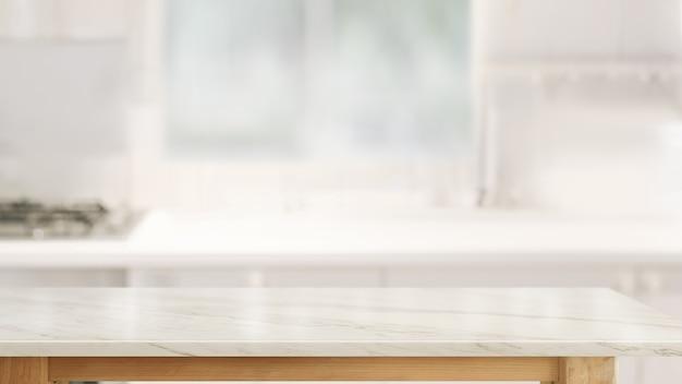 Lege marmeren tafelblad op keuken kamer achtergrond Premium Foto