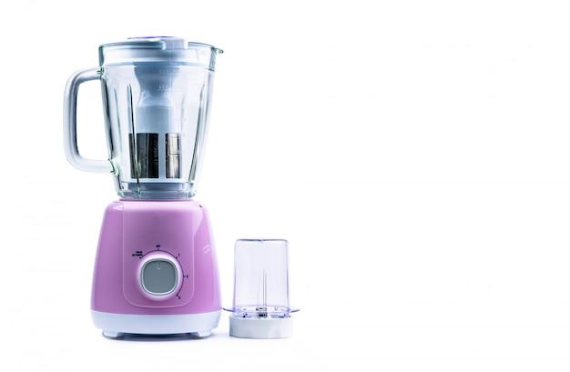 Lege pastel paarse elektrische blender met filter, gehard glazen kan, droge molen en snelheidskeuzeschakelaar Premium Foto
