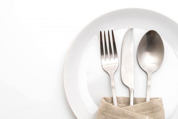 Lege plaat lepel vork en mes Premium Foto