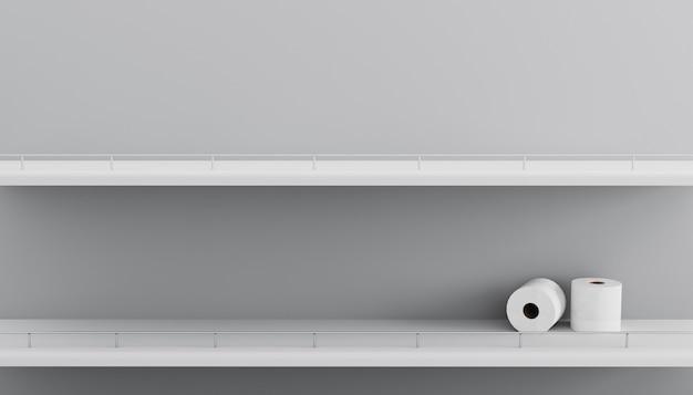 Lege planken van wc-papier rollen in de supermarkt. planken van de close-up de lege witte supermarkt Premium Foto