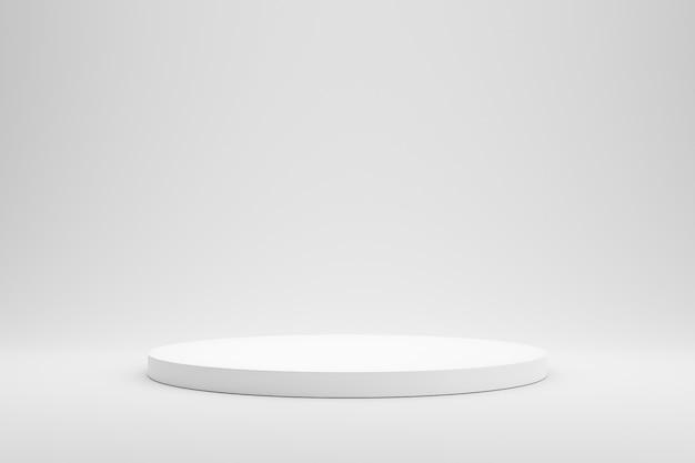 Lege podium of voetstukvertoning op witte achtergrond met het concept van de cilindertribune. Premium Foto