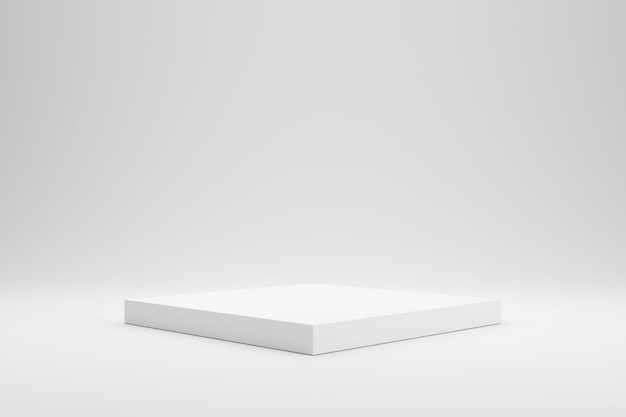 Lege podium of voetstukvertoning op witte achtergrond met het concept van de doostribune. Premium Foto
