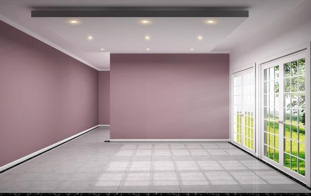 Lege ruimte heeft roze muur op tegel ontwerp 3d-rendering Premium Foto
