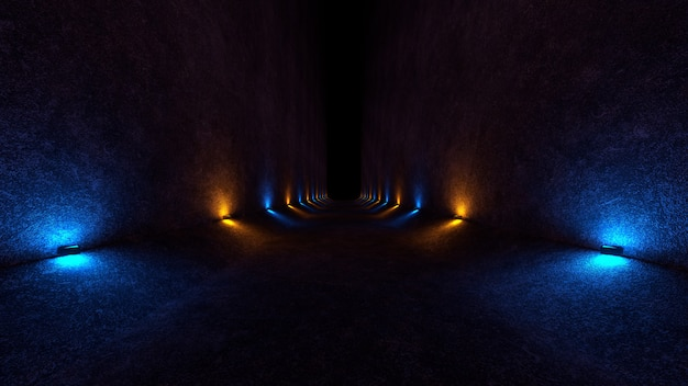 Lege ruimte met betonnen muren en lampen op de muren die zacht diffuus licht op en neer verspreiden Premium Foto