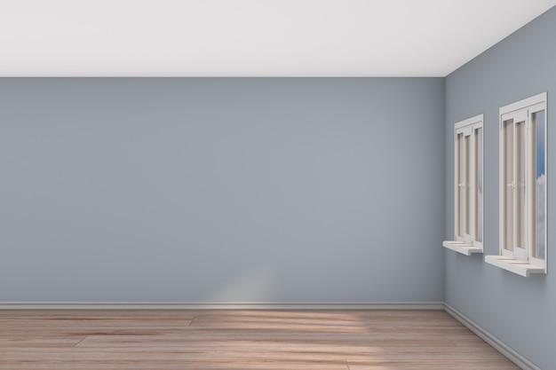 Lege ruimte met raam. 3d illustratie Premium Foto