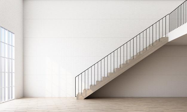 Lege ruimte met trap en raam Premium Foto