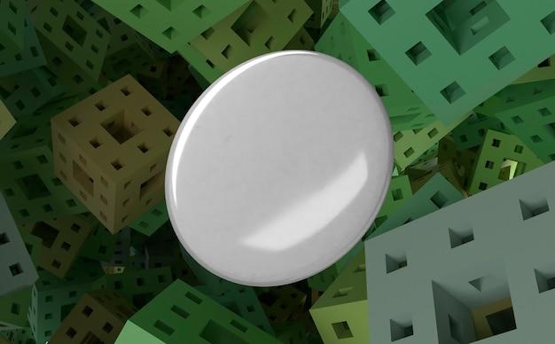 Lege witte badge op abstracte gekwadrateerde achtergrond Gratis Foto