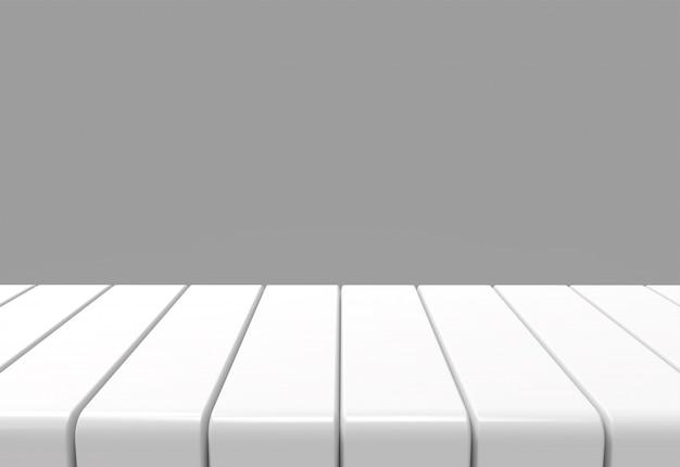 Lege witte paneeltafel met grijze muurachtergrond Premium Foto