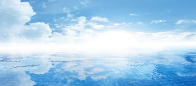 Lege witte wolk op blauwe hemel Premium Foto