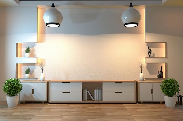 Lege zenruimte binnenlandse achtergrond met verborgen de stijlontwerp van de plankmuur verborgen licht Premium Foto