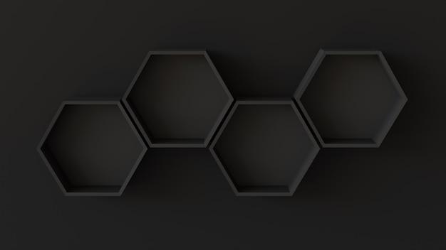 Lege zwarte zeshoekenplanken op blinde muurachtergrond. 3d-rendering. Premium Foto