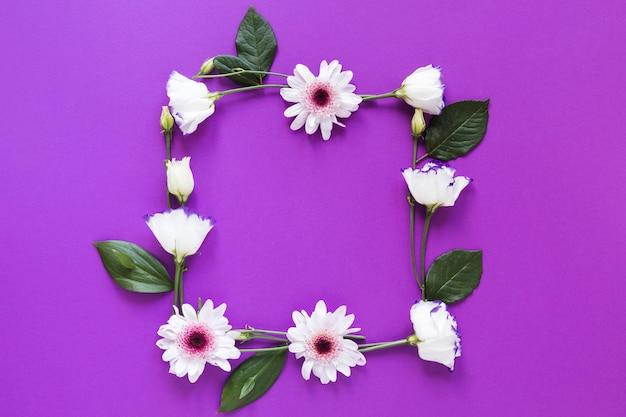 Lente bloemen en bladeren frame op violette achtergrond Gratis Foto