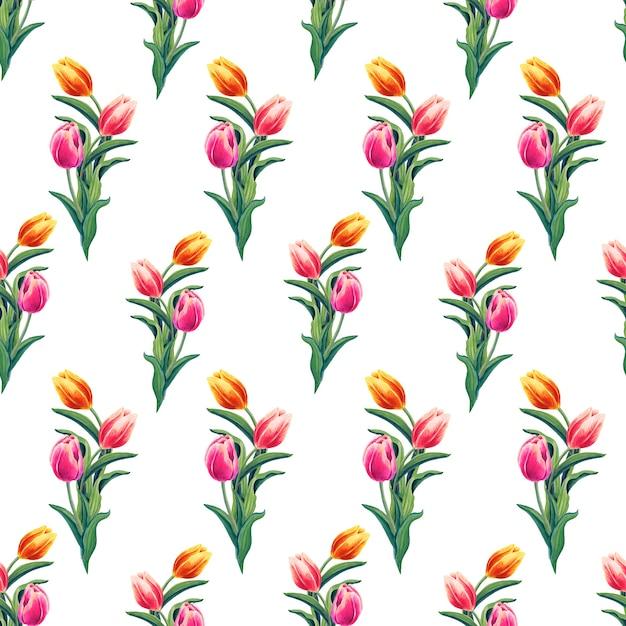 Lente geel, rood, roze tulpen.aquarel naadloze patroon met bloemen op een witte achtergrond. Premium Foto
