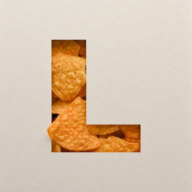 Lettertypeontwerp, abstract alfabet lettertype met driehoekige maïsspaanders, realistische blaadentypografie - l. Premium Foto