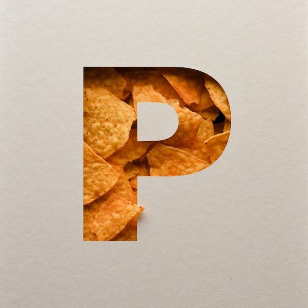 Lettertypeontwerp, abstract alfabet lettertype met driehoekige maïsspaanders, realistische blaadentypografie - p. Premium Foto