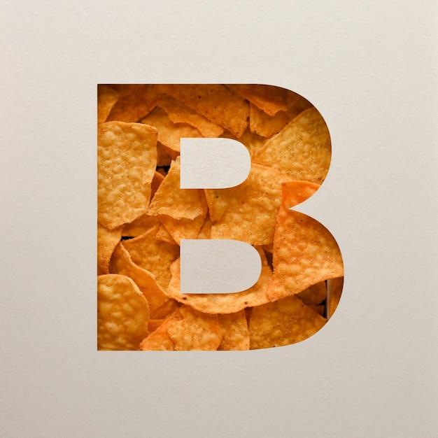 Lettertypeontwerp, abstract alfabetlettertype met driehoekige maïsspaanders, realistische blaadentypografie - b. Premium Foto