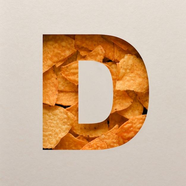 Lettertypeontwerp, abstract alfabetlettertype met driehoekige maïsspaanders, realistische blaadentypografie - d. Premium Foto