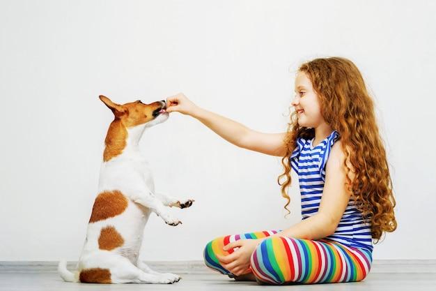 Leuk meisje met spelen zijn dog jack russel terrier. Premium Foto