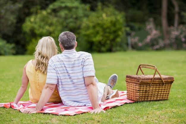 Leuk paar dat een picknick op het gras heeft Premium Foto