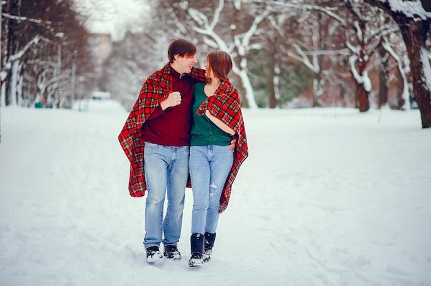 Leuk paar veel plezier in een winter park Gratis Foto