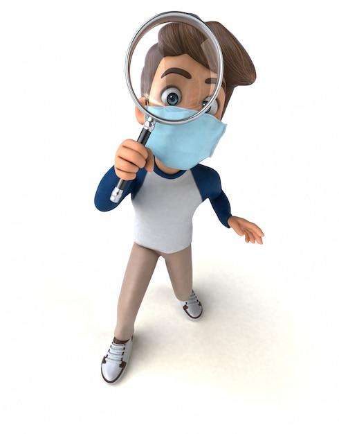 Leuk stripfiguur kind met een masker Premium Foto