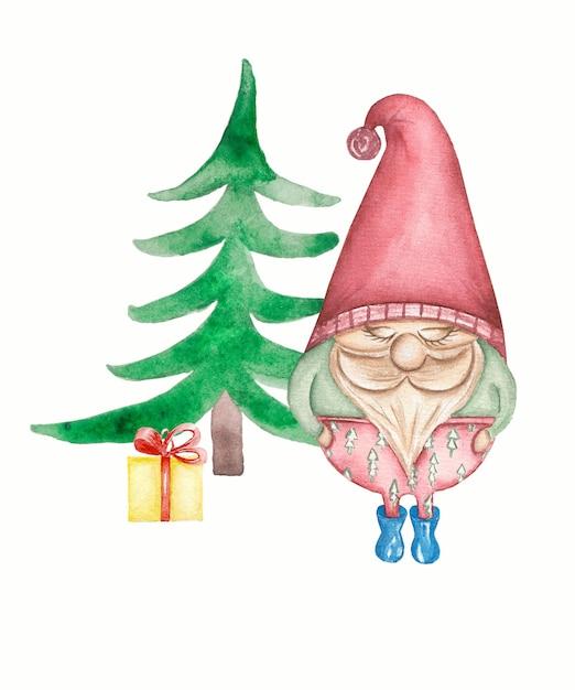 Leuke gnomo met de wintergift dichtbij de geïsoleerde kerstmisboom Premium Foto