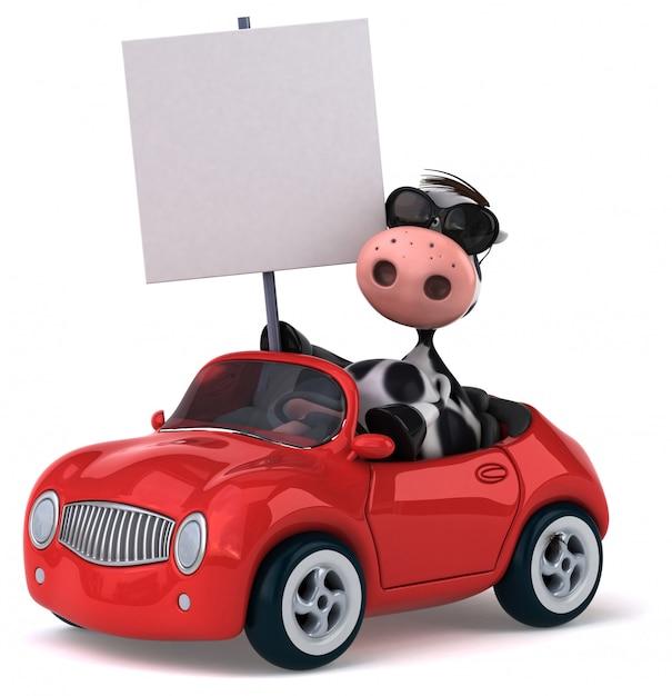 Leuke koe rijden met bordje Premium Foto