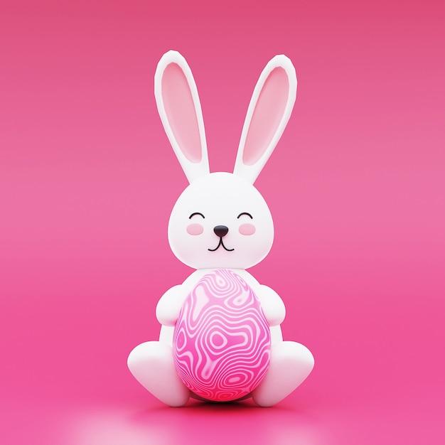 Leuke paashaas met paasei op roze achtergrond. gelukkig pasen-concept. 3d-rendering. Premium Foto