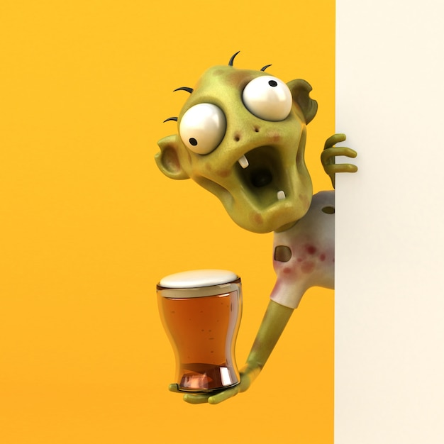 Leuke zombie - 3d-personage Premium Foto