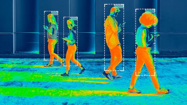 Lichaamstemperatuur tijdens coronavirus pandemie warmtebeeld Gratis Foto