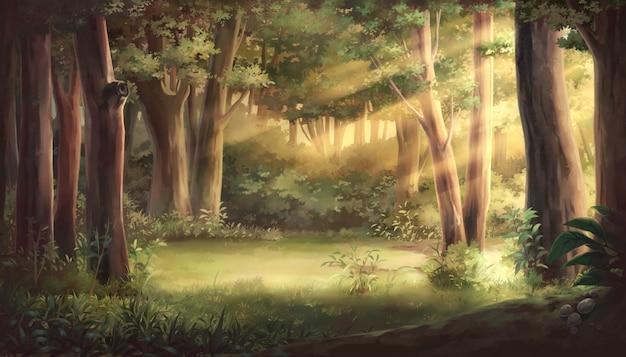 Licht en bos illustratie Premium Foto